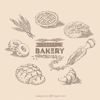 Éléments de boulangerie dessinés à la main