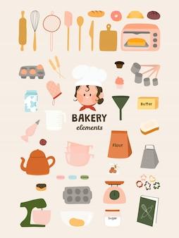 Éléments de boulangerie mignons