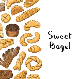 Éléments de boulangerie avec place pour le texte