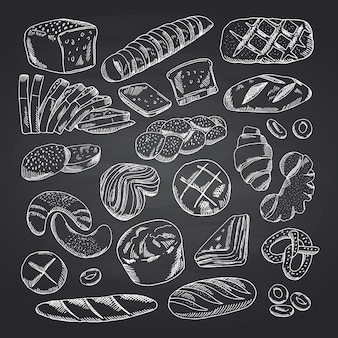 Éléments de boulangerie profilés dessinés à la main de vecteur sur un tableau noir. croquis de tableau de boulangerie, illustration dessin doodle craie