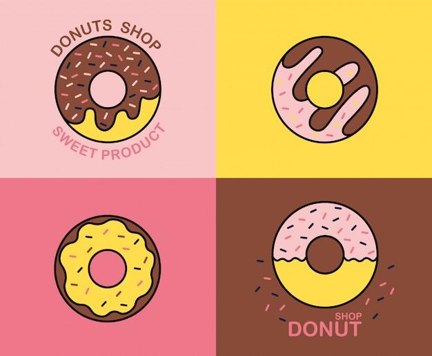 Éléments de boutique de beignets, logos colorés isolés