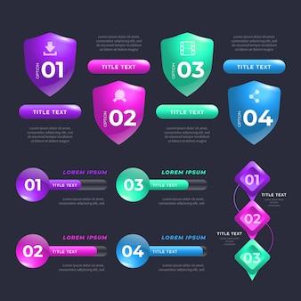 Éléments brillants réalistes d'infographie