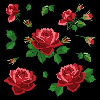 Éléments de broderie de roses rouges sur fond noir, imitation de point de satin,. collection de fleurs, feuilles et bourgeons.