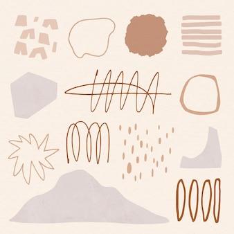 Éléments bruns de style memphis dans un ensemble de tons de terre