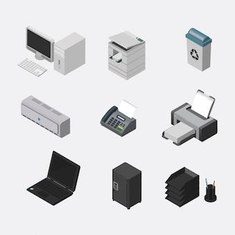 Éléments de bureau isométriques