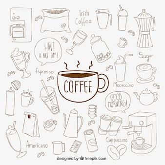 Éléments de café dessinés à la main