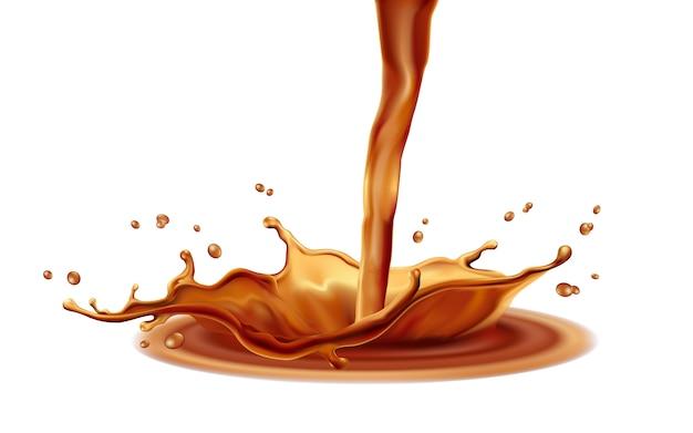 Éléments de café splash sur fond blanc