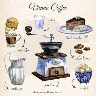 Éléments de café vienne peintes à la main