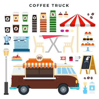 Éléments de camion de café rétro et de café de rue