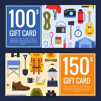Éléments de camping style plat de vecteur discount ou illustration de modèles de bon cadeau carte cadeau