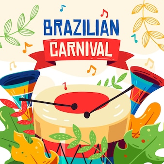 Éléments De Carnaval Brésiliens Dessinés à La Main Vecteur gratuit