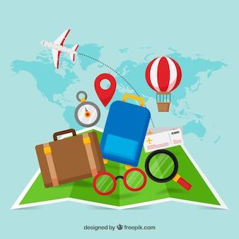 Éléments de carte et de voyage avec un design plat