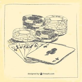 Éléments de casino de dessin