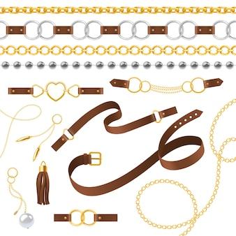 Éléments de ceinture. tresse, chaîne de pendentifs et bracelet, lanières de cuir et boucle métallique, conception de bijoux répétant l'ensemble de vecteurs d'accessoires tendance