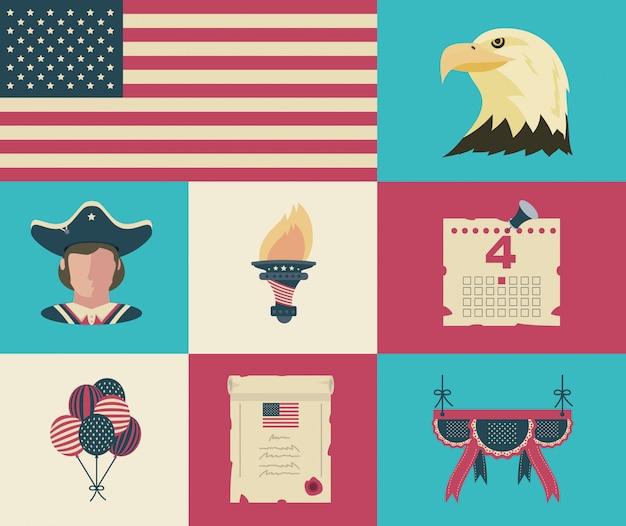Éléments de célébration de la fête de l'indépendance des états-unis