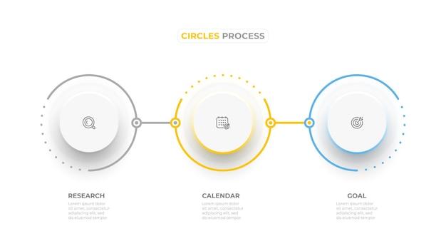 Éléments de cercle d'infographie d'entreprise avec 3 options ou étapes