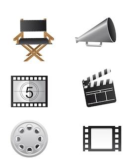 Éléments de cinéma isolés sur vecteur de fond blanc