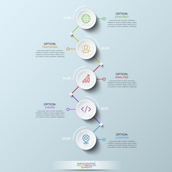 Éléments circulaires blancs liés aux zones de texte et indication de l'heure, mise en page infographique.