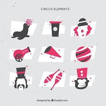 Éléments de cirque dans le style polygonal