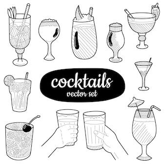 Éléments de cocktails dessinés à la main. ensemble pour la décoration de menu, les sites web, les bannières, les présentations, les arrière-plans, les affiches, les blogs et les réseaux sociaux. illustration vectorielle.