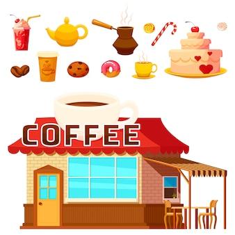 Éléments de coffeeshop de dessert