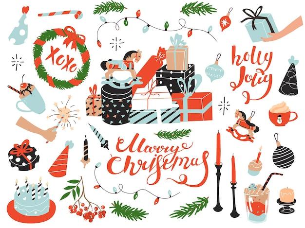 Éléments de collection clip art pour la célébration de noël et du nouvel an. style plat en illustration vectorielle. cadeaux, arbres jouets, bougies, boissons. citations de noyade à la main joyeux noël, holly jolly, xoxo.