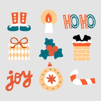 Éléments de collection de noël et du nouvel an ou autocollants illustration dessinée à la main dans un style plat de dessin animé