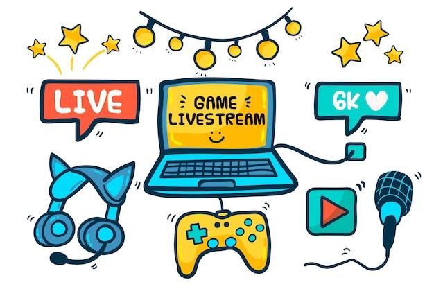 Éléments de concept de streamer de jeu dessinés à la main