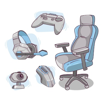 Éléments de concept de streamer de jeu plat