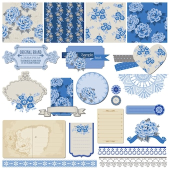 Éléments de conception d'album fleurs vintage