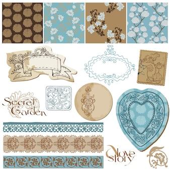 Éléments de conception d'album fonds d'écran de fleurs vintage et éléments vintage