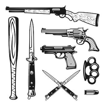 Éléments de conception d'armes et objets dans un style monochrome vintage