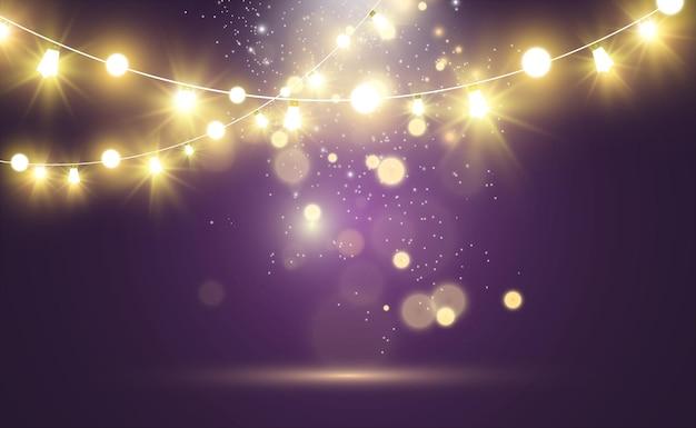 Éléments de conception de belles lumières lumineuses de noël lumières rougeoyantes pour la conception de la carte de voeux de noël