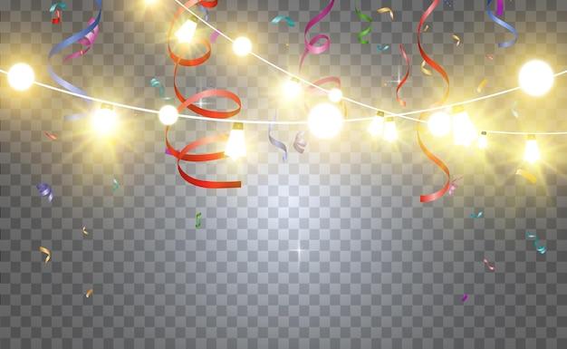 Éléments de conception de belles lumières lumineuses de noël lumières rougeoyantes pour la conception de voeux de noël