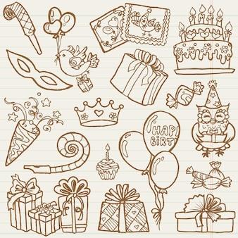 Éléments de conception de célébration d'anniversaire dessinés à la main
