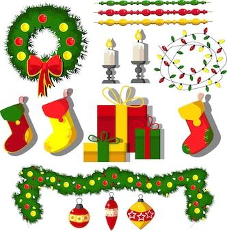 Éléments de conception de collection de noël pour la nouvelle année avec des cadeaux et des décorations de ballons