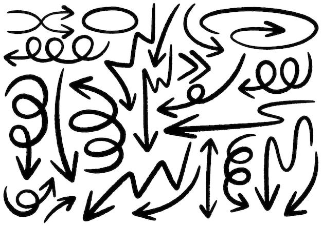 Éléments de conception de griffonnage dessinés à la main. flèches, cadres, bordures, icônes et symboles dessinés à la main. éléments d'infographie de style dessin animé. fond blanc.