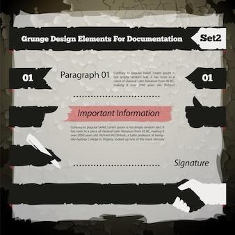 Éléments de conception grunge pour ensemble de documentation