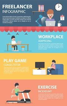 Éléments de conception infographique freelance