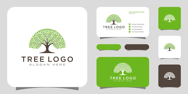 Éléments de conception de logo d'arbre. modèle de logo de jardin vert et carte de visite