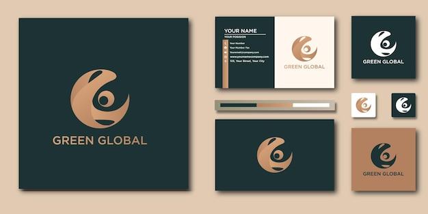 Éléments de conception de logo doré mondial. modèle de logo mondial or et carte de visite