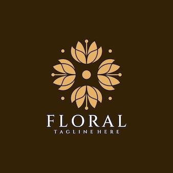 Éléments de conception de logo de fleur de décoration de salon floral de beauté