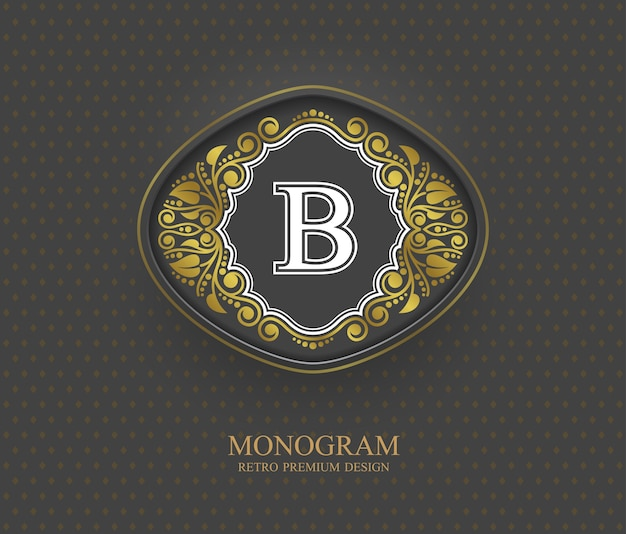 Éléments de conception de monogramme, modèle gracieux calligraphique, emblème de lettre b,