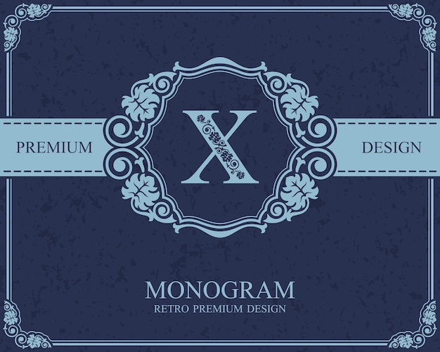 Éléments de conception de monogramme, modèle gracieux calligraphique, emblème de lettre x,
