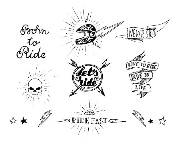 Éléments de conception de motard de tatouage traditionnel