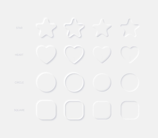 Éléments de conception neumorphiques légers arrondis carré étoile coeur cercle dans différentes variations sur fond clair