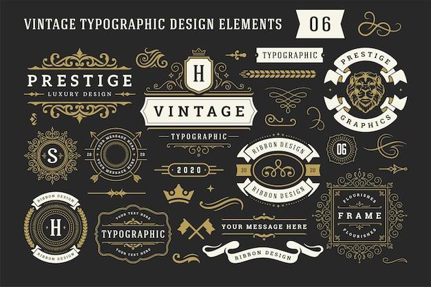 Éléments de conception d'ornement décoratif typographique vintage mis en illustration vectorielle