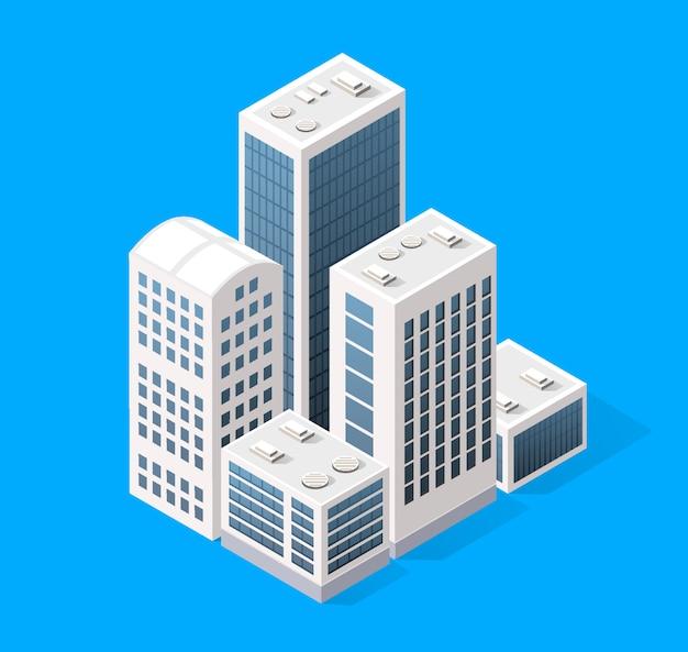 Éléments de conception de paysage urbain avec bâtiment isométrique