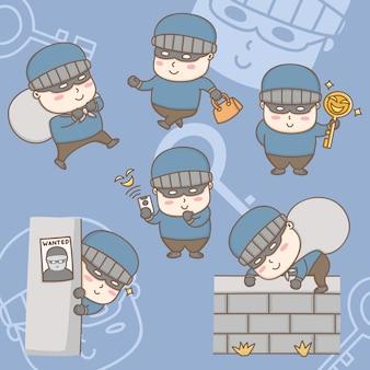 Éléments de conception personnage de dessin animé d'un voleur volant des actions de propriété précieuses.