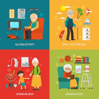 Éléments de conception de personnage de grand-mère et de grand-père